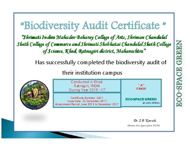 Biodiversity Audit Certificate-ICS College, Khed